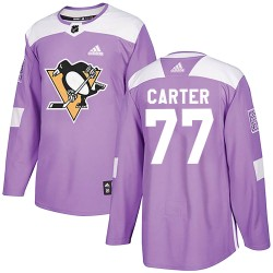 Jeff Carter Pittsburgh Penguins Men's Adidas Authentic Purple Fights Cancer Practice Jersey
