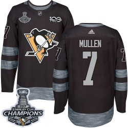 Joe Mullen Pittsburgh Penguins Men's Adidas Authentic Black 1917-2017 100th Anniversary 2017 Stanley Cup Champions Jersey