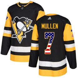 Joe Mullen Pittsburgh Penguins Men's Adidas Authentic Black USA Flag Fashion Jersey