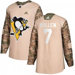 Joe Mullen Pittsburgh Penguins Men's Adidas Authentic Camo Veterans Day Practice Jersey