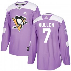 Joe Mullen Pittsburgh Penguins Men's Adidas Authentic Purple Fights Cancer Practice Jersey