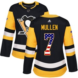 Joe Mullen Pittsburgh Penguins Women's Adidas Authentic Black USA Flag Fashion Jersey