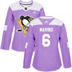 John Marino Pittsburgh Penguins Women's Adidas Authentic Purple Fights Cancer Practice Jersey