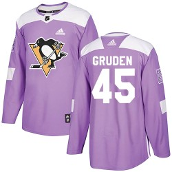 Jonathan Gruden Pittsburgh Penguins Men's Adidas Authentic Purple Fights Cancer Practice Jersey