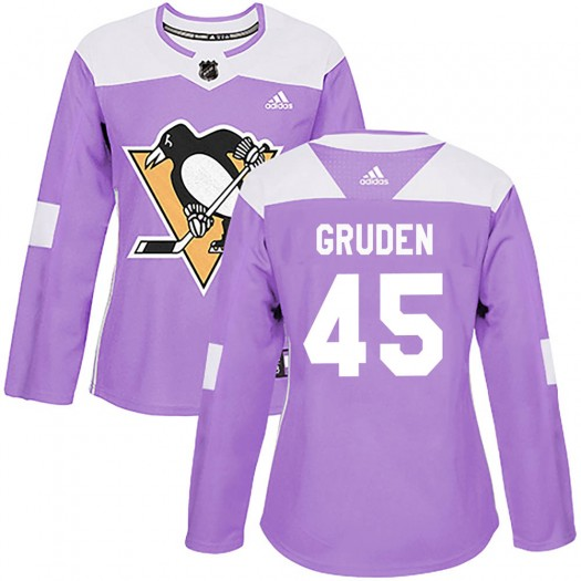Jonathan Gruden Pittsburgh Penguins Women's Adidas Authentic Purple Fights Cancer Practice Jersey