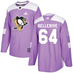 Jordy Bellerive Pittsburgh Penguins Men's Adidas Authentic Purple Fights Cancer Practice Jersey