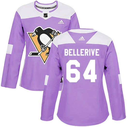 Jordy Bellerive Pittsburgh Penguins Women's Adidas Authentic Purple Fights Cancer Practice Jersey