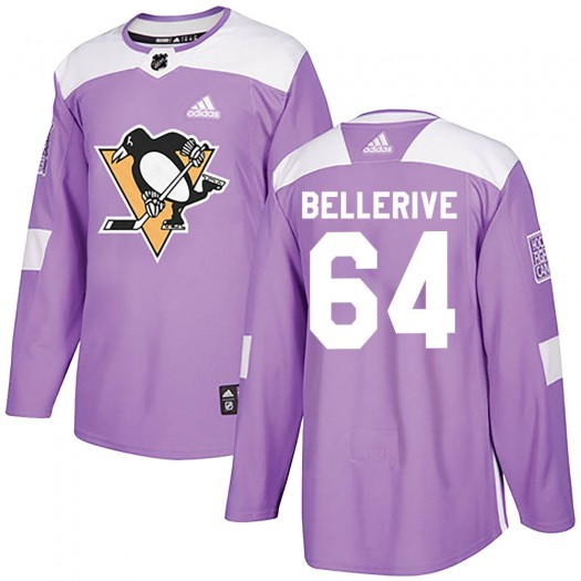 Jordy Bellerive Pittsburgh Penguins Youth Adidas Authentic Purple Fights Cancer Practice Jersey
