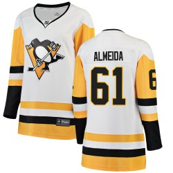 Justin Almeida Pittsburgh Penguins Women's Fanatics Branded White Breakaway Away Jersey