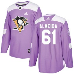 Justin Almeida Pittsburgh Penguins Youth Adidas Authentic Purple Fights Cancer Practice Jersey