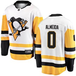 Justin Almeida Pittsburgh Penguins Youth Fanatics Branded White Breakaway Away Jersey