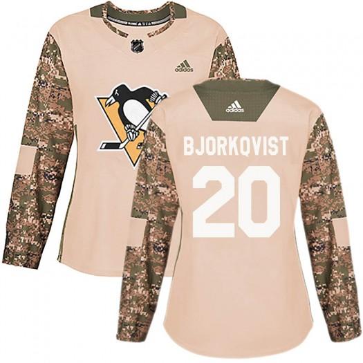 Kasper Bjorkqvist Pittsburgh Penguins Women's Adidas Authentic Camo Veterans Day Practice Jersey