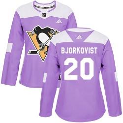 Kasper Bjorkqvist Pittsburgh Penguins Women's Adidas Authentic Purple Fights Cancer Practice Jersey