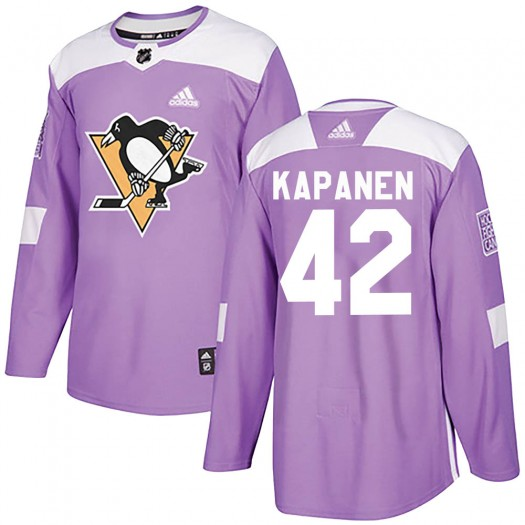 Kasperi Kapanen Pittsburgh Penguins Youth Adidas Authentic Purple Fights Cancer Practice Jersey