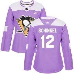 Ken Schinkel Pittsburgh Penguins Women's Adidas Authentic Purple Fights Cancer Practice Jersey