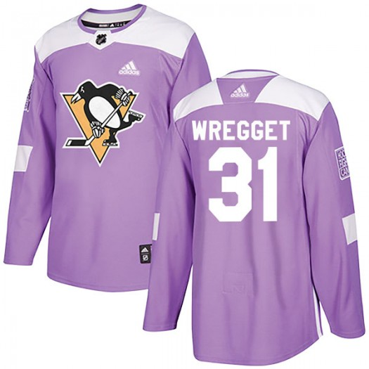 Ken Wregget Pittsburgh Penguins Men's Adidas Authentic Purple Fights Cancer Practice Jersey