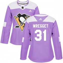Ken Wregget Pittsburgh Penguins Women's Adidas Authentic Purple Fights Cancer Practice Jersey