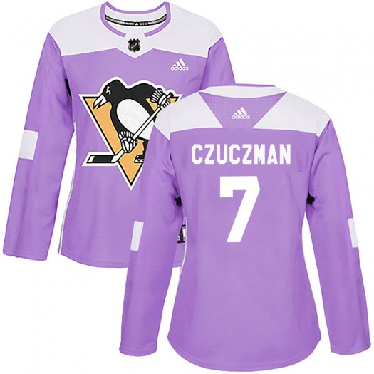 Kevin Czuczman Pittsburgh Penguins Women's Adidas Authentic Purple ized Fights Cancer Practice Jersey