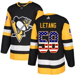 Kris Letang Pittsburgh Penguins Men's Adidas Authentic Black USA Flag Fashion Jersey