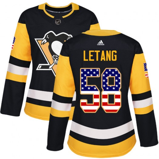 Kris Letang Pittsburgh Penguins Women's Adidas Authentic Black USA Flag Fashion Jersey