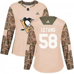 Kris Letang Pittsburgh Penguins Women's Adidas Authentic Camo Veterans Day Practice Jersey