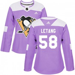 Kris Letang Pittsburgh Penguins Women's Adidas Authentic Purple Fights Cancer Practice Jersey