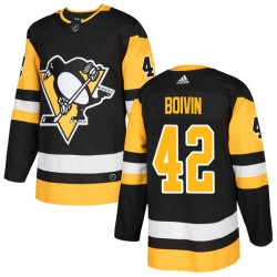 Leo Boivin Pittsburgh Penguins Men's Adidas Authentic Black Home Jersey