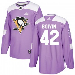 Leo Boivin Pittsburgh Penguins Men's Adidas Authentic Purple Fights Cancer Practice Jersey