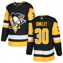 Les Binkley Pittsburgh Penguins Men's Adidas Authentic Black Home Jersey
