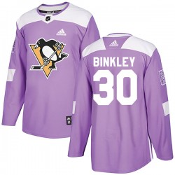 Les Binkley Pittsburgh Penguins Men's Adidas Authentic Purple Fights Cancer Practice Jersey