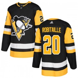 Luc Robitaille Pittsburgh Penguins Men's Adidas Authentic Black Home Jersey