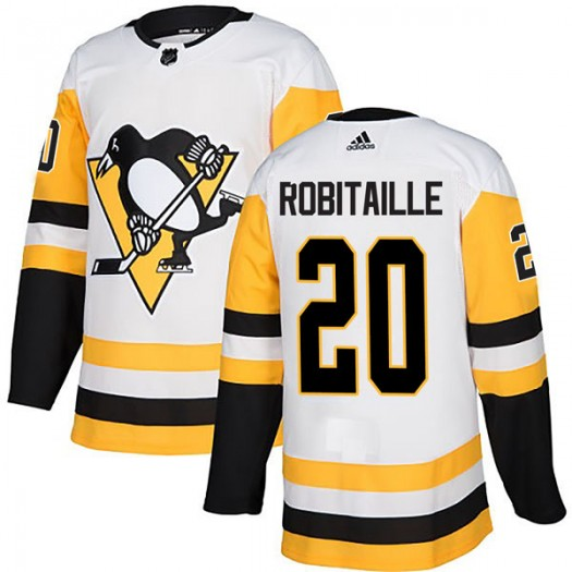 Luc Robitaille Pittsburgh Penguins Men's Adidas Authentic White Away Jersey