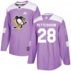 Marcus Pettersson Pittsburgh Penguins Men's Adidas Authentic Purple Fights Cancer Practice Jersey