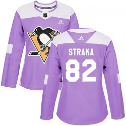 Martin Straka Pittsburgh Penguins Women's Adidas Authentic Purple Fights Cancer Practice Jersey