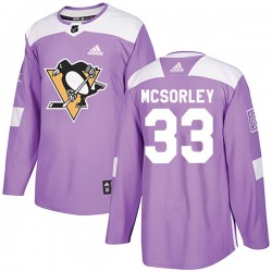 Marty Mcsorley Pittsburgh Penguins Men's Adidas Authentic Purple Fights Cancer Practice Jersey