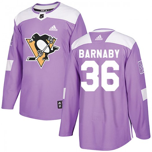 Matthew Barnaby Pittsburgh Penguins Men's Adidas Authentic Purple Fights Cancer Practice Jersey
