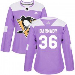 Matthew Barnaby Pittsburgh Penguins Women's Adidas Authentic Purple Fights Cancer Practice Jersey
