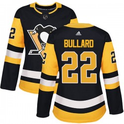 Mike Bullard Pittsburgh Penguins Women's Adidas Authentic Black Home Jersey