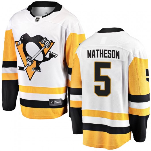 Mike Matheson Pittsburgh Penguins Youth Fanatics Branded White Breakaway Away Jersey