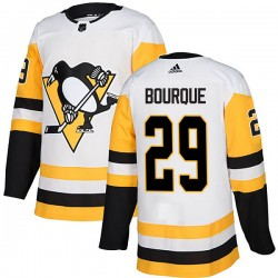 Phil Bourque Pittsburgh Penguins Men's Adidas Authentic White Away Jersey