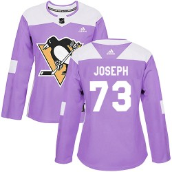 Pierre-Olivier Joseph Pittsburgh Penguins Women's Adidas Authentic Purple ized Fights Cancer Practice Jersey