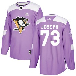Pierre-Olivier Joseph Pittsburgh Penguins Youth Adidas Authentic Purple ized Fights Cancer Practice Jersey
