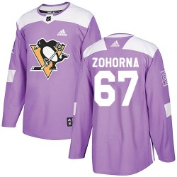 Radim Zohorna Pittsburgh Penguins Men's Adidas Authentic Purple Fights Cancer Practice Jersey