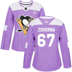 Radim Zohorna Pittsburgh Penguins Women's Adidas Authentic Purple Fights Cancer Practice Jersey