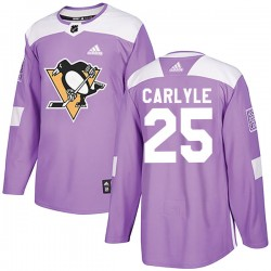 Randy Carlyle Pittsburgh Penguins Youth Adidas Authentic Purple Fights Cancer Practice Jersey