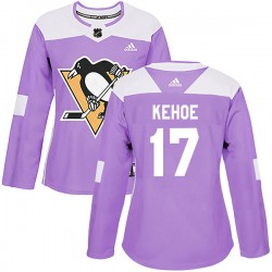 Rick Kehoe Pittsburgh Penguins Women's Adidas Authentic Purple Fights Cancer Practice Jersey