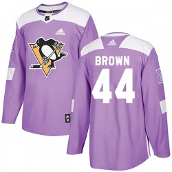 Rob Brown Pittsburgh Penguins Men's Adidas Authentic Purple Fights Cancer Practice Jersey