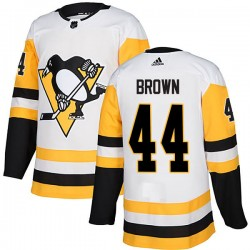 Rob Brown Pittsburgh Penguins Men's Adidas Authentic White Away Jersey