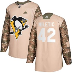 Sam Miletic Pittsburgh Penguins Men's Adidas Authentic Camo Veterans Day Practice Jersey