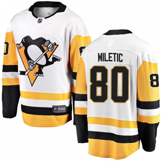 Sam Miletic Pittsburgh Penguins Men's Fanatics Branded White Breakaway Away Jersey